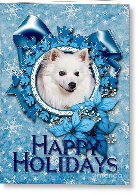 Christmas - Blue Snowflakes American Eskimo Greeting Card by Renae Laughner