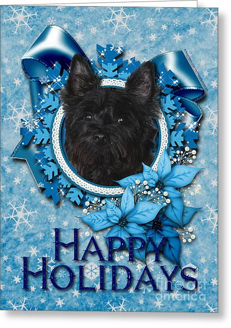Christmas - Blue Snowflakes Cairn Terrier Greeting Card by Renae Laughner