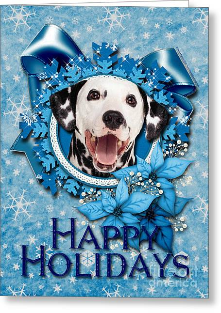 Xmas Greeting Cards - Christmas - Blue Snowflakes Dalmatian Greeting Card by Renae Laughner