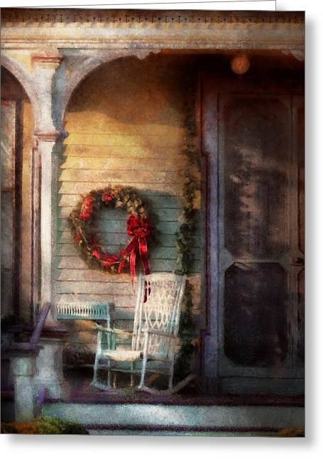 Christmas - Christmas Is Right Around The Corner Greeting Card by Mike Savad