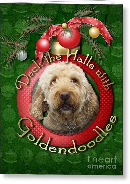 Poodle Greeting Cards - Christmas - Deck the Halls with GoldenDoodles Greeting Card by Renae Laughner
