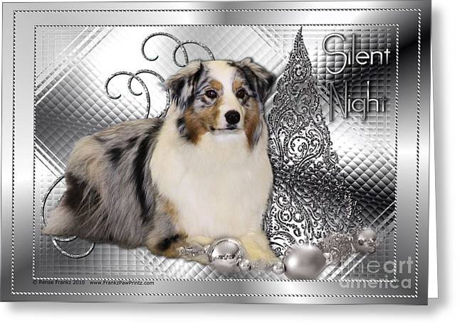 Christmas - Silent Night - Australian Shepherd Greeting Card