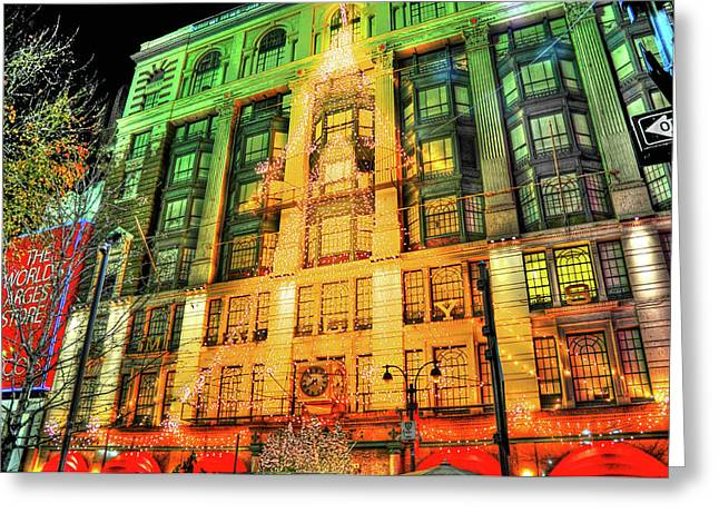 Macy Greeting Cards - Christmas at Macys Greeting Card by Randy Aveille
