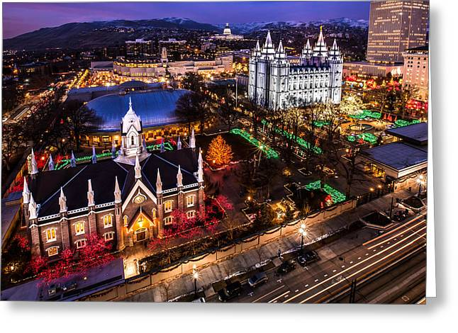 Christmas At Temple Square Greeting Card