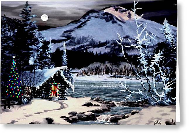 Christmas At The Lake V2 Greeting Card