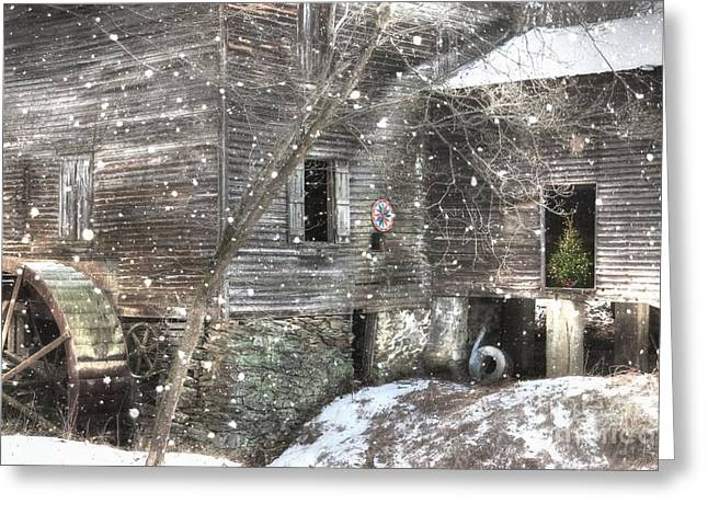 Christmas At Cook's Mill Greeting Card by Benanne Stiens