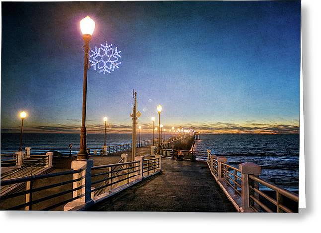 Christmas At The Pier Greeting Card by Ann Patterson