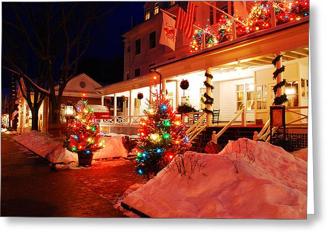 Christmas At The Red Lion Inn Greeting Card by James Kirkikis