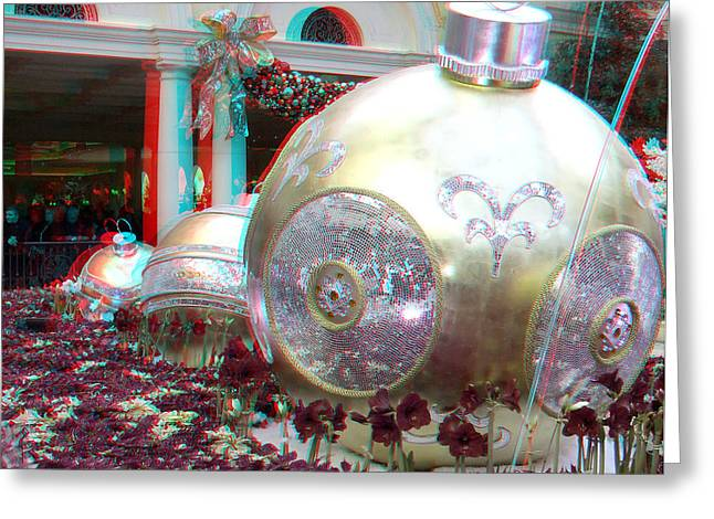 Christmas Balls 3d Greeting Card by Joel Gilgoff