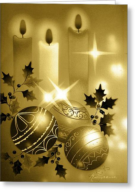 Christmas Balls And Candles Black And Gold Greeting Card