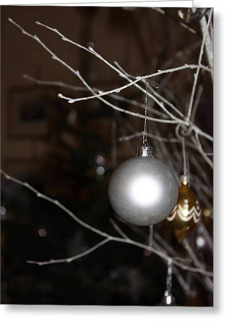 Christmas Bauble Greeting Card by Yvonne Ayoub