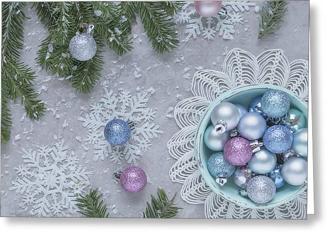 Greeting Card featuring the photograph Christmas Baubles And Snowflakes by Kim Hojnacki
