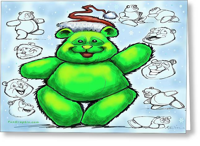 Christmas Bear Greeting Card by Kevin Middleton