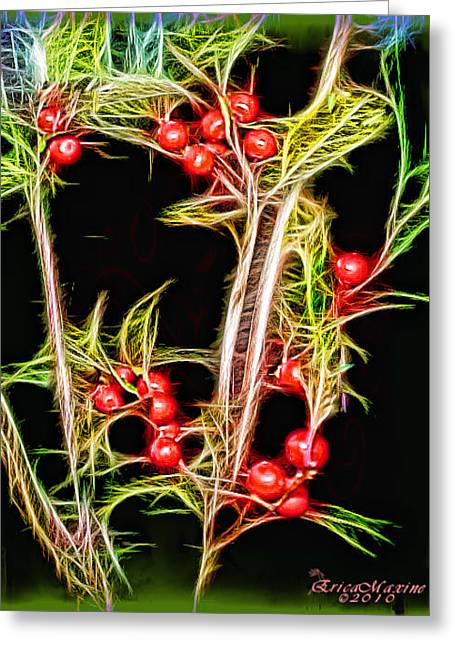 Greeting Card featuring the photograph Christmas Berries by EricaMaxine  Price