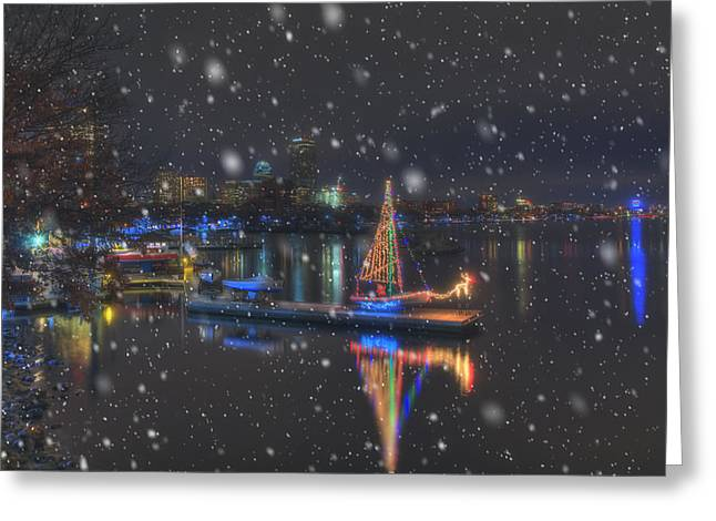 Christmas Boat On The Charles River - Boston Greeting Card