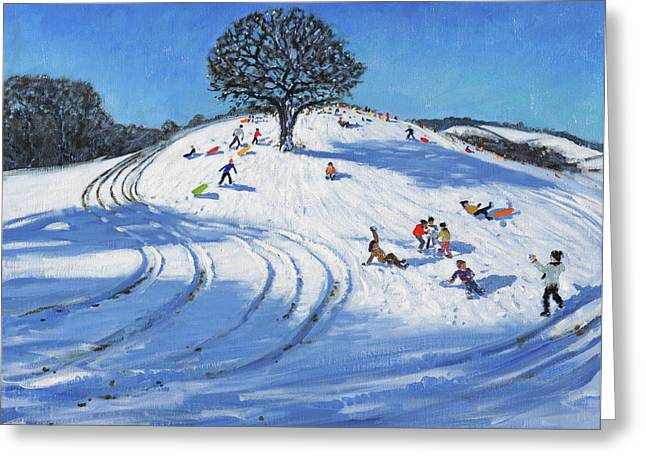 Christmas, Burley Lane, Derby Greeting Card by Andrew Macara
