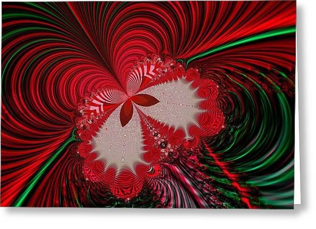 Christmas Butterfly Fractal 63 Greeting Card by Rose Santuci-Sofranko