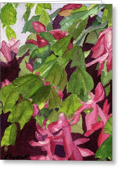 Greeting Card featuring the painting Christmas Cactus by Lynne Reichhart