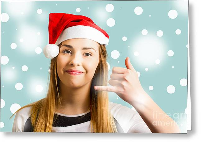 Christmas Calling Girl Greeting Card by Jorgo Photography - Wall Art Gallery