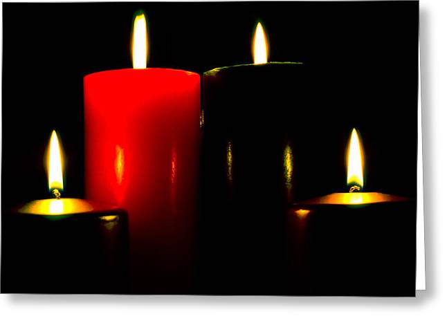 Christmas Candles 7a Greeting Card by Steve Ohlsen