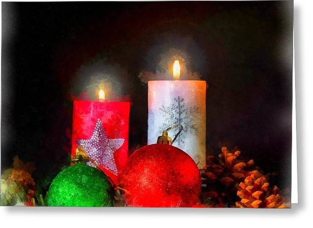 Christmas Candles Greeting Card by Esoterica Art Agency