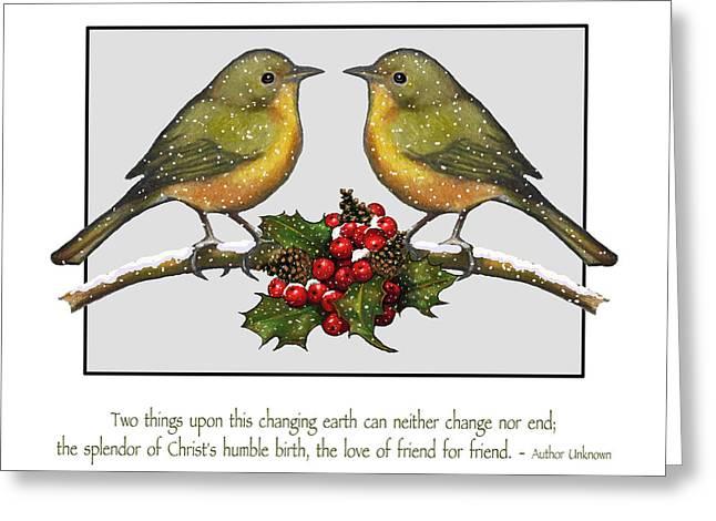 Christmas Card Birds And Friendship Greeting Card by Joyce Geleynse