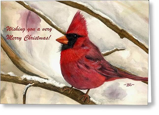 Christmas Card Cardinal Greeting Card by Bonnie Schallermeir