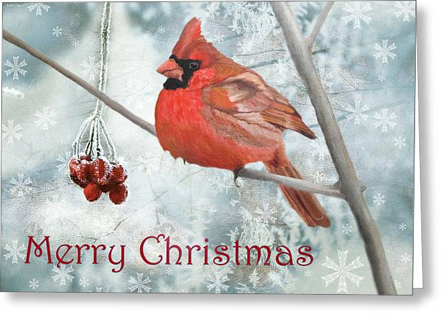 Greeting Card featuring the painting Christmas Cardinal by Angeles M Pomata