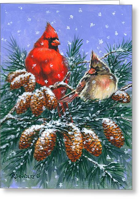 Christmas Cardinals #1 Greeting Card