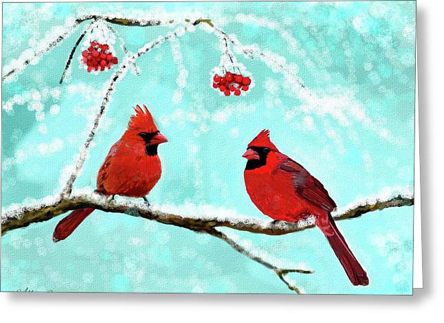 Greeting Card featuring the painting Christmas Cardinals by Leslie Allen