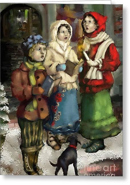 Christmas Carol 2 Greeting Card by Carrie Joy Byrnes