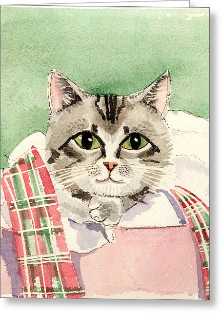 Christmas Cat Greeting Card by Arline Wagner
