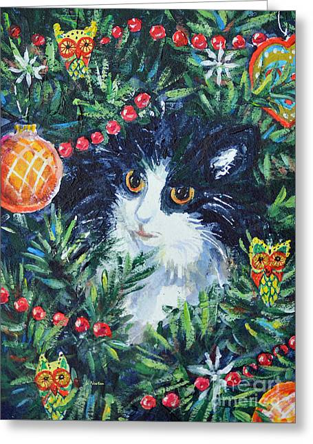 Christmas Catouflage Greeting Card by Li Newton