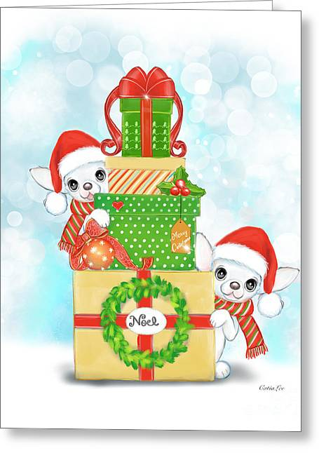 Greeting Card featuring the painting Christmas Chi Elves by Catia Lee
