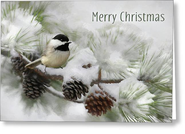 Greeting Card featuring the photograph Christmas Chickadee by Lori Deiter