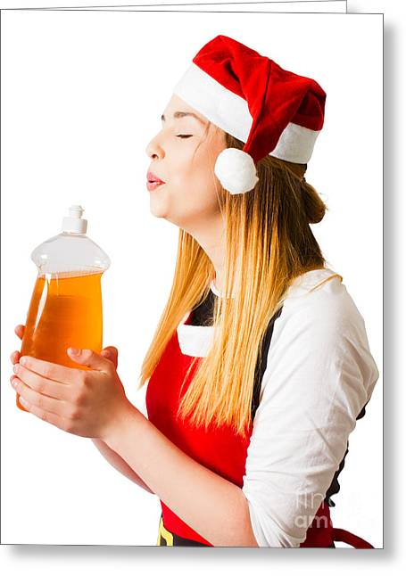 Christmas Cleaner Blowing Away Housework Chores Greeting Card by Jorgo Photography - Wall Art Gallery