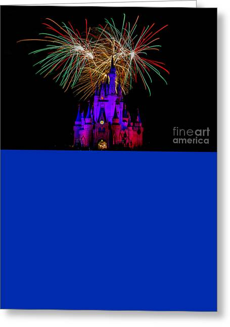 Christmas Colored Disney Fireworks Greeting Card