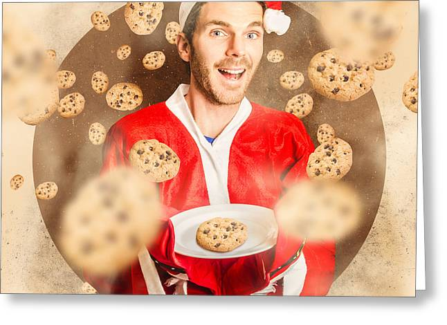 Christmas Cooking Elf With Cookies Treats Greeting Card by Jorgo Photography - Wall Art Gallery