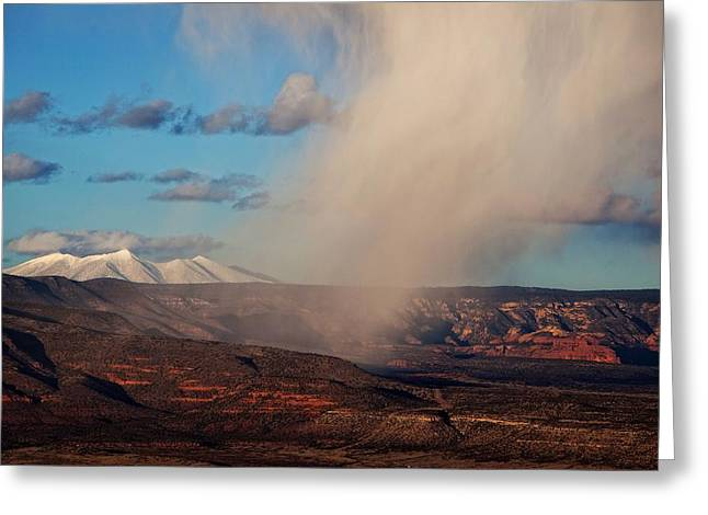 Greeting Card featuring the photograph Christmas Day Snow Mix San Francisco Peaks by Ron Chilston