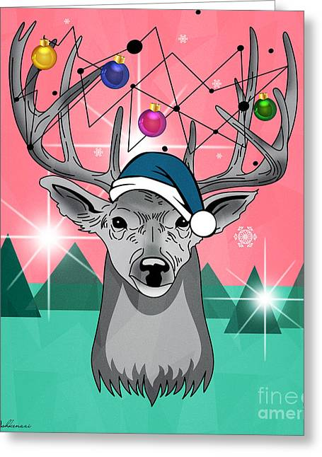 Christmas Deer Greeting Card by Mark Ashkenazi