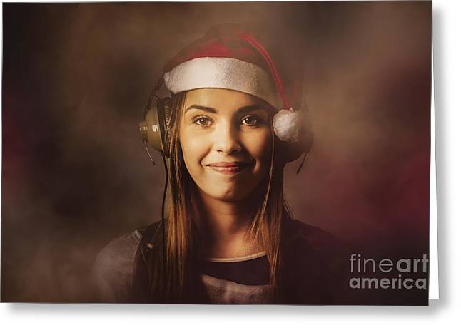 Greeting Card featuring the photograph Christmas Disco Dj Woman by Jorgo Photography - Wall Art Gallery