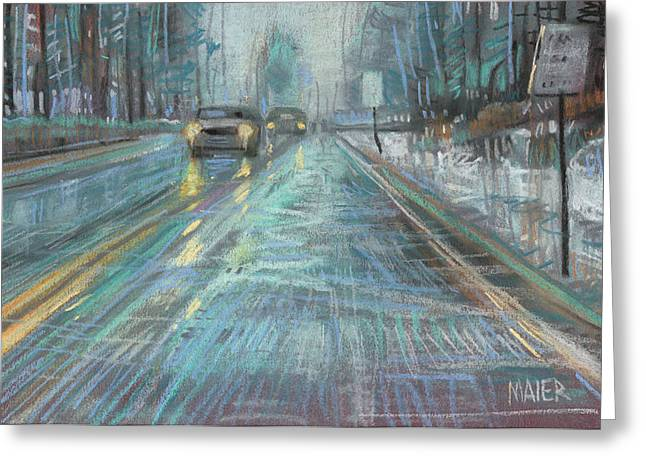 Winter Pastels Greeting Cards - Christmas Drive Greeting Card by Donald Maier