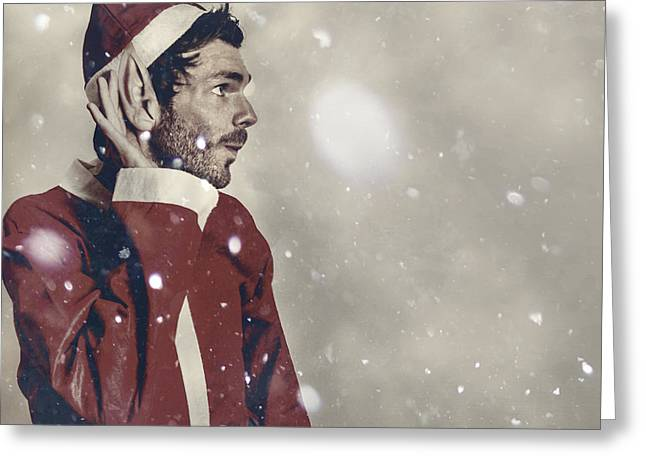 Christmas Elf Hearing In The New Year Celebrations Greeting Card by Jorgo Photography - Wall Art Gallery