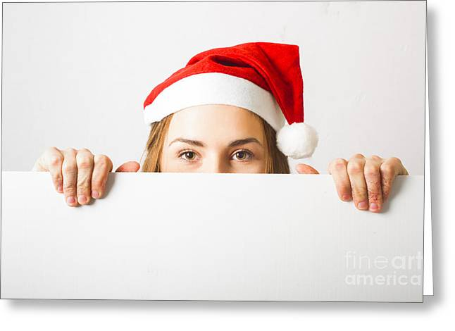 Christmas Elf Holding Empty Advertising Copy Space Greeting Card by Jorgo Photography - Wall Art Gallery