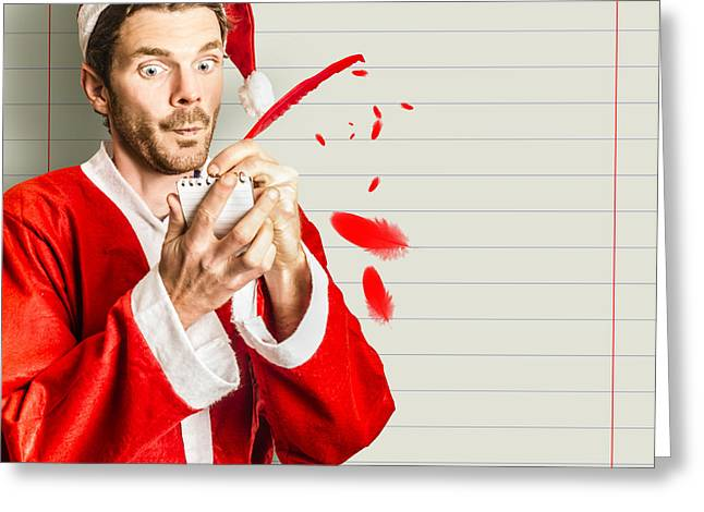 Christmas Elf Letter Writing A Holiday Message Greeting Card by Jorgo Photography - Wall Art Gallery