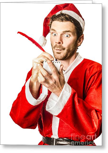 Christmas Elf Writing To Do List For Santa Greeting Card by Jorgo Photography - Wall Art Gallery
