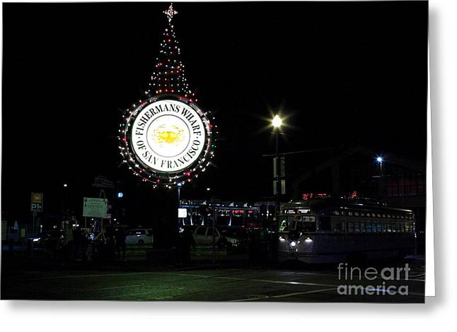 Christmas Eve 2009 Nightime At Fisherman Greeting Card by Wingsdomain Art and Photography
