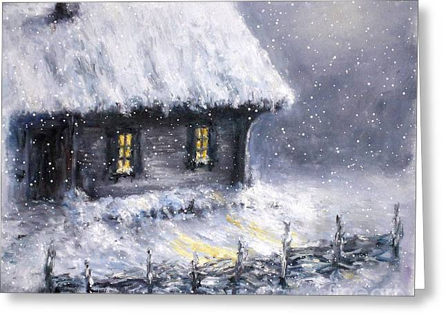Greeting Card featuring the painting Christmas Eve by Arturas Slapsys