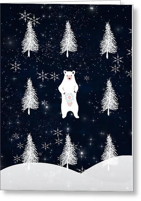 Christmas Eve Bear Greeting Card by Amanda Lakey