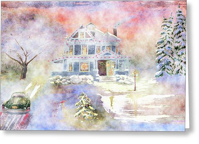Christmas Eve Watercolor Greeting Card by Ken Figurski